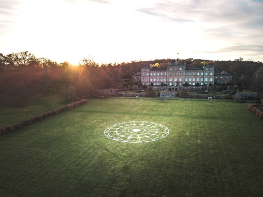 In Memoriam, 75 metre drawing resembling a crop circle using the template of a Rober Adam ceiling rose in the interior of Mellerstain House Photo Credit Sean McCrossan